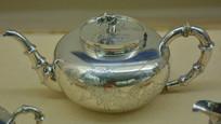 文物白银精品家有大吉纹茶壶