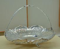 文物白银精品镂空莲瓣三足水果篮