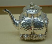 文物白银精品印包形茶壶