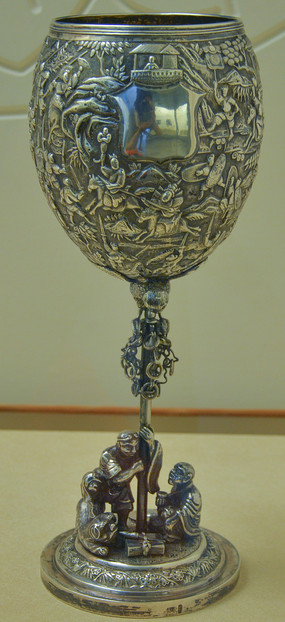 文物白银精品征战图纹高脚杯