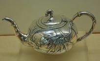 文物白银精品竹叶纹茶壶