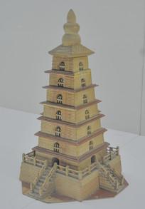 传统工艺木刻大雁塔