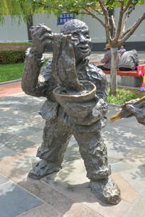 雕像陕北民俗吃面