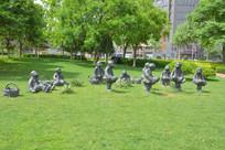 雕像陕北民俗孩童斗鸡