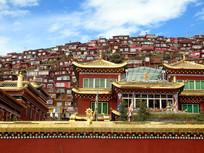 色达佛学院修行者的红房子