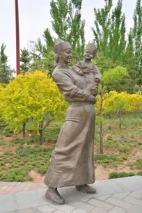 雕塑蒙古族母子