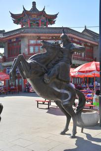 雕像清代八旗骑兵
