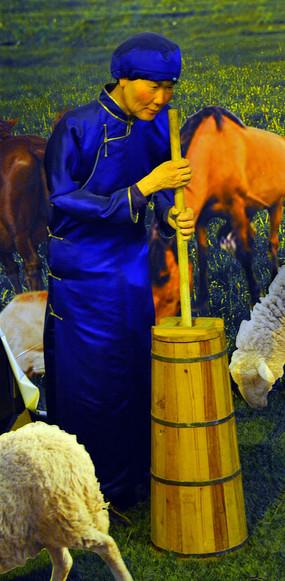 蜡像蒙古族老奶奶