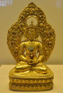 文物长寿三尊鎏金无量寿佛铜坐像