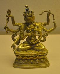 文物长寿三尊鎏金尊胜佛母铜坐像