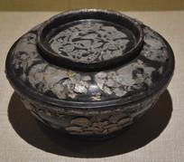 文物花鸟纹银平脱漆盖碗