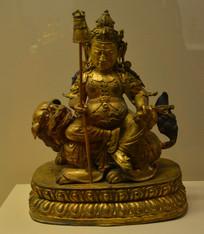 文物鎏金文殊菩萨骑狮像
