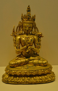 文物鎏金文殊菩萨铜坐像