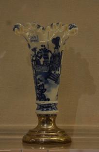 文物青花福寿图花瓶
