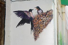 建筑艺术燕子绘画