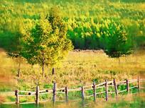 电脑画《乡村风景》