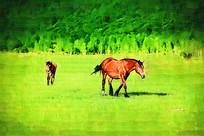 电脑油画《绿色牧场》