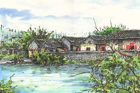 河源苏家围建筑手绘