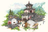 客家建筑手绘图
