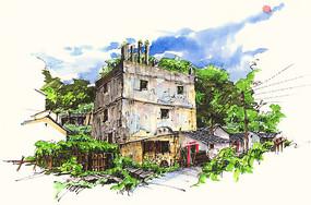 梅州丰顺建筑手绘