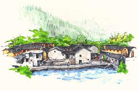 梅州围龙屋手绘