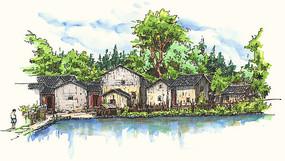 苏家围建筑手绘