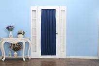 蓝色布艺窗帘