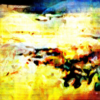 黄色调抽象油画