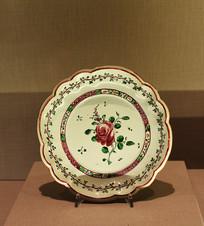 玫瑰图案瓷碗