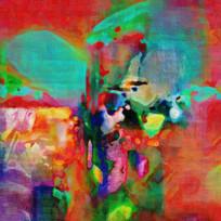 七彩抽象油画