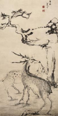 清 朱耷松树双鹿图