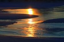 冰河暮色夕阳风景