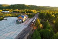 小火车车站 航拍