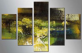 五联抽象油画高清图