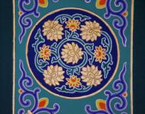 古代房顶彩绘图案鎏金牡丹花卉