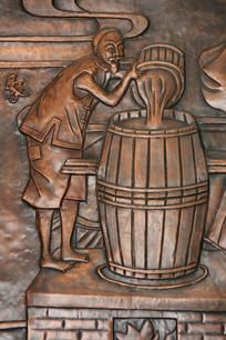 铜版画古人酿造二锅头酒