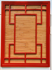 红色木框花式窗户背景