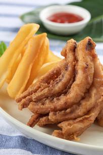 椒盐鱿鱼须薯条