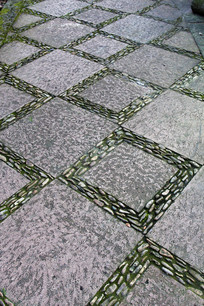 菱形石头铺路