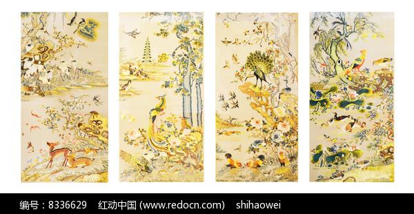 易县清宫传刺绣花鸟四条屏图片