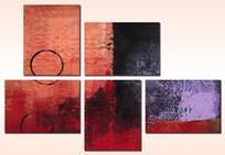 抽象画五联画