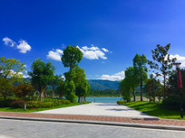 蓝天下的公园