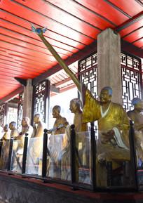 罗汉堂的长手竿罗汉雕塑