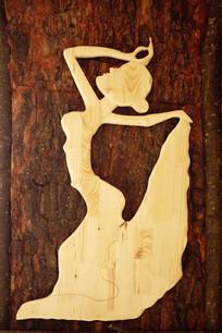 木刻画《舞女》