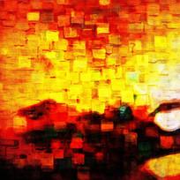 红色色块抽象油画