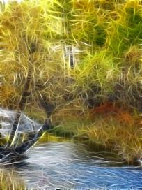 电脑画《秋林小溪》