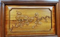 藤蔓金瓜门饰木雕