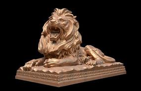 金色张嘴大吼狮子