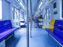 蓝色地铁车厢