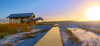张掖湿地冬天里的早晨